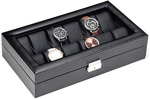 JSDKLO Watch Display Storage Box Storage Box, Sleek Minimalist Black PU Leather Watch Box Display Cabinet Watch Gift Box Can Accommodate 12 Watches