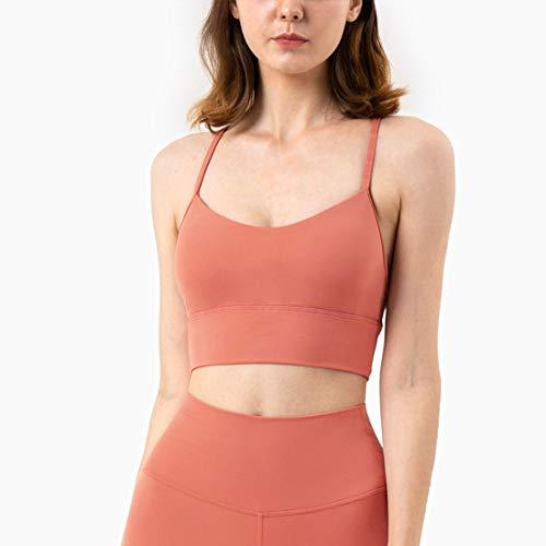 Hanks Shop Sport Unterwäsche Fitness Sexy Schönheit zurück Weste Art Nude Kleines Sling Yoga Bra (Color : Rustic Coral, Size : XXL)