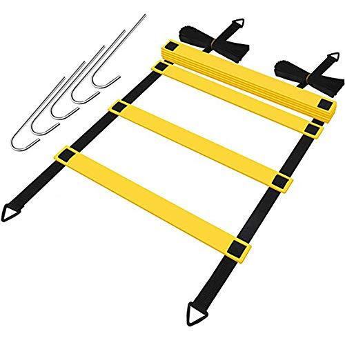NOBLJX Premium Pro Athlete Grade Speed Agility Leiter mit Tragetasche, freiem Speed Chute, einfachem Aufbau und beständigem Training für Fußball und andere Sportarten