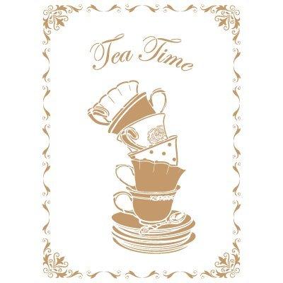 TODO-STENCIL Deco Vintage Composición 163 Tea Time. Medidas aproximadas: Medida Exterior 20...