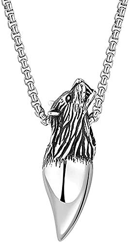 W-RNM Hombres Acero Inoxidable Vikingo Lobo Diente Colgante Colgante Collar, Norse Mitología Odin Wolf Head Fenrir Amuleto, Polidado Hecho A Mano Celtic Pagan Vintage Punk Jewelry (Color : Silver)