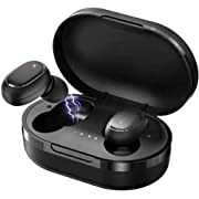 Wireless Bluetooth earbuds, Bluetooth 5.0 in-ear headphones, 6D stereo IPX4 sweatproof, clear binaural call microphone, fitness, entertainment time charging box, noise reduction mini earbuds, sweatproof for mobile phones and Android Gym Sport