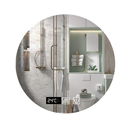 JHNEA Espejo baño, Espejo Baño Pared Espejo con Luz LED Interruptor Táctil Espejo Colgante para Baño Dormitorio Salón, luz Blanca fría, Esquinas Redondeadas, más seguras,Double Touch_50x50cm