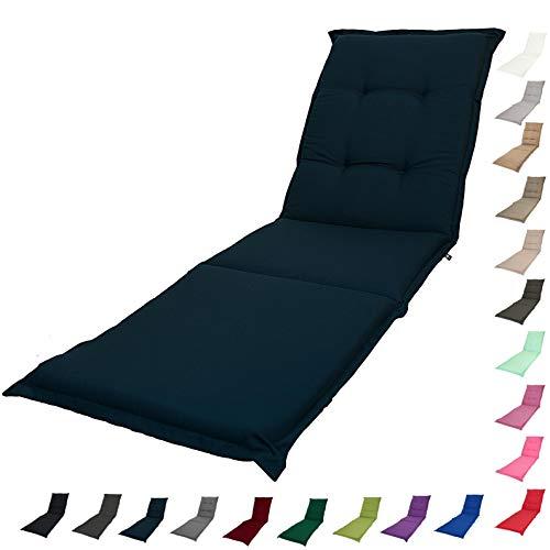 KOPU® Auflage Gartenliege Prisma Navy | Liegenauflagen für Gartenmöbel | Blau Liegen Kissen 195 x 60 cm | 19 einfache Farben | Robuster Schaumstoff für zusätzlichen Komfort