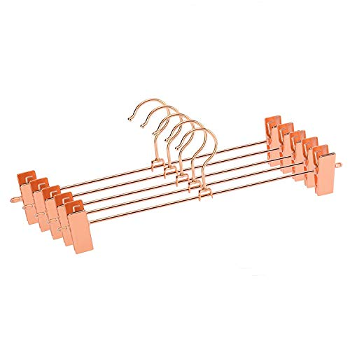 Jetdio Metal Heavy Duty Pants Skirt Slack Hangers,Trousers Hangers with Two Adjustable Non Slip Clips Hanger Rack Swivel Hook, 12 Pack, Copper Gold