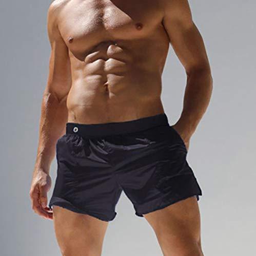 ASDWA Strandshorts,Herren Quick Dry Badehose Durchscheinende Schwarze Shorts Mit Taschen Elastische Taille Casual Running Surfing Beach Sports Shorts, L.