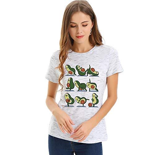 CRAINY Camisa de Mujer, Camiseta de Belleza, Yoga Holgado, Cuello Redondo de Aguacate, Camiseta de Manga Corta para Mujer-Meteor Blanco_XXL