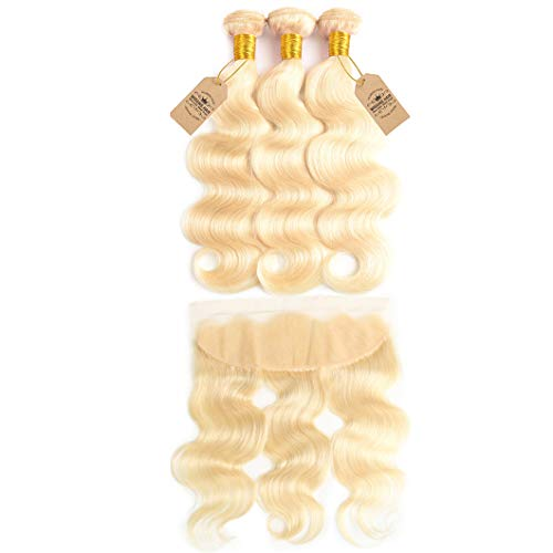 613 Blonde Bundles With Frontal Pre Plucked With Baby Hair Bleached Plutinum Blonde Remy Human Hair Bundles With Closure #613 24 24 24 & Closure20
