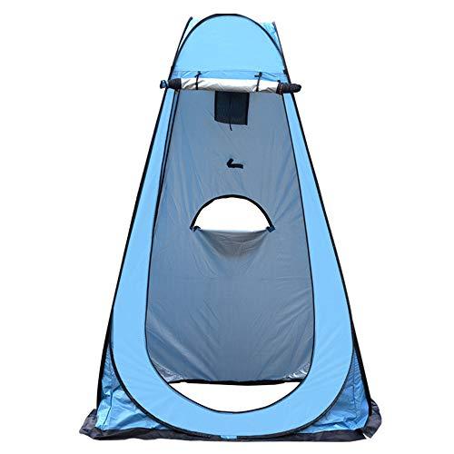 Exnemel Pop Up Tienda de Campaña Portátil, Tienda de Ducha Portátil al Aire Libre, Carpa Vestidor Plegable Tienda, para Camping Playa Bosques Zonas de Aseo (Azul con 3 Ventanas)