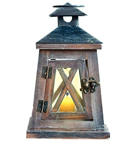 BeneCharm A Hanging Candle Holder,Outdoor Wooden Candle Lantern, Rustic Farmhouse Style Lanterns Candlestick Indoor for Vintage Wedding Birthday Party Patio Decoration