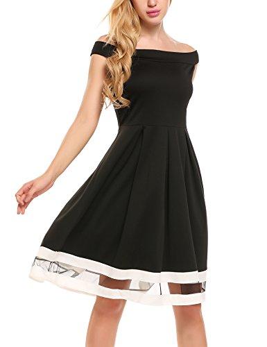 Meaneor Damen Kleid Elegant Skaterkleid Schulterfrei Abendkleider Cocktailkleid Sommerkleider Kurzarm Sexy Festlich