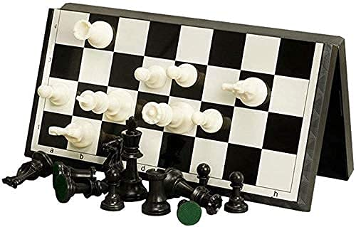 ZHBH International Chess Adult Magnetic Plastic Chess Set, Portable foldable black and white chess toys for students, 37 X 37 cm, training and lessons for beginners Chess Board Chess Sets
