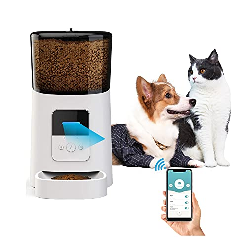 socio Distributore Cibo per Cani e Gatti, 6L Alimentatore Automatico con Telecomando WIFI e Allarme granella in eccesso design anti-blocco Fino 1-6 pasti al Giorno