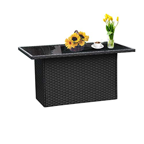 Outdoor PE Wicker Coffee Table - Patio Rattan Garden Furniture Tea Table with Glass Top, Black