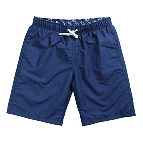 JESSIVO Mens Swim Trunks Solid Quick Dry Swim Suit Without Mesh Lining Navy Size L