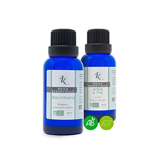 KLARCHA - Duo del Madagascar - Tea Tree e Ravintsara - Oli essenziali biologici - 10 ml x 2 - Confezione per aromaterapia - Benessere e cura