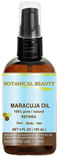 MARACUJA OIL. 100% Pure/Natural. Cold Pressed/Undiluted. For Face, Hair and Body.by Botanical Beauty (4 fl.oz.-120 ml (Plastic bottle with pump))