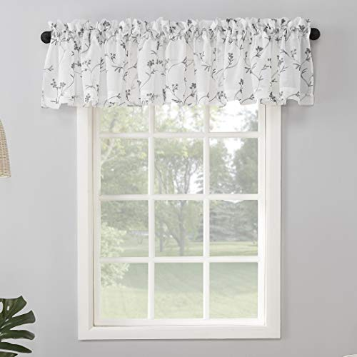 """No. 918 Delia Embroidered Floral Sheer Rod Pocket Curtain Valance, 50"""" x 17"""", White"""
