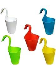 Ketsaal Plastic Flower Pot With Hook, Multicolour, Standard, 5 Pieces