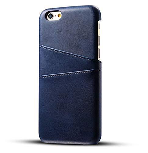 Desconocido Funda iPhone 6 Plus / 6S Plus, Funda Tarjetero Slim de Piel Sintética Vintage con 2 Ranuras para Tarjetas/DNI Cubierta Simple Fácil de Instalar para iPhone 6 / 6S (iPhone 6 / 6S, Azul)