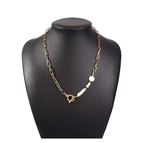 Collar de mujer, Minimalista Barroco Papel de perlas de perla irregular de Barroco Clip Collar Pasto Mujer Retro Punk Cuello Redondo Pareja Joyería Femenina para mujeres ( Metal Color : Toggle Pearl )