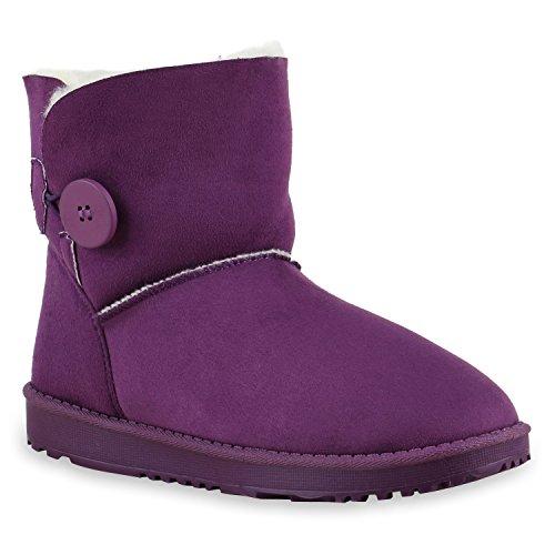 Warm Gefütterte Boots Schlupfstiefel Schleifen Pailletten s Kunstfell Stiefel Booties Winterstiefel Schuhe 128464 Lila Knopf 36 Flandell