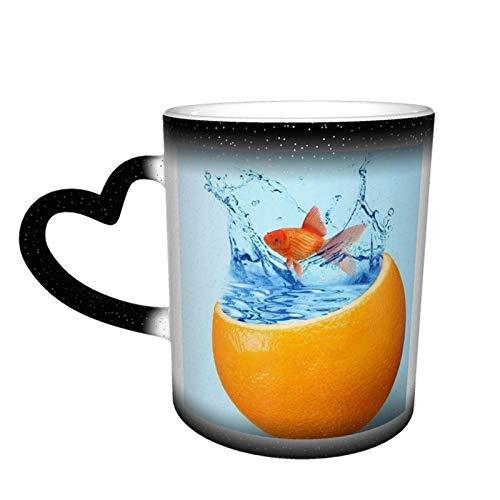 Taza de cerámica con cambio de color de cielo estrellado sensible al calor de naranjas de pescado, sorpresa de cumpleaños para niños y niñas, 11 oz-VW