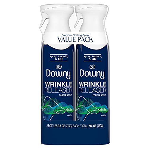 Downy WrinkleGuard Wrinkle Release Fabric Spray, Fresh Scent, 38.8 Total Oz (Pack of 2) - Fabric Refresher, Odor Eliminator & Anti Static