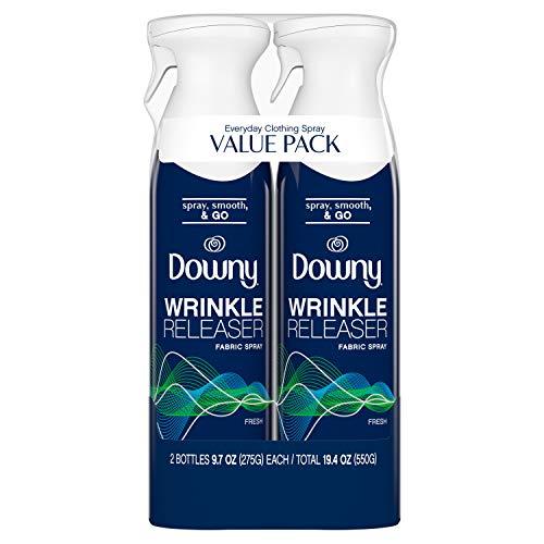 Downy WrinkleGuard Wrinkle Release Fabric Spray, Fresh Scent, 38.8 Total Oz (Pack of 2) - Fabric Refresher, Odor Eliminator & Anti Static