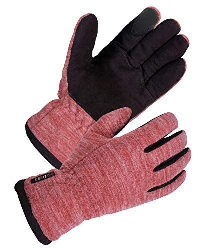 SKYDEER Women's Touch Screen Winter Gloves with Premium Genuine Deerskin Suede Leather and Windproof Polar Fleece (SD8665T/L)