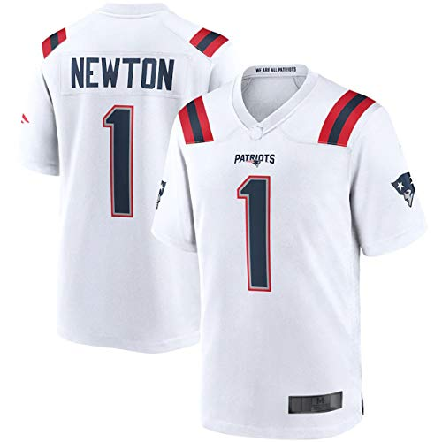 FTING Outdoor Rugby Trikot Cam New England Nr. 1 Patriots Newton Game Jersey – Weiß