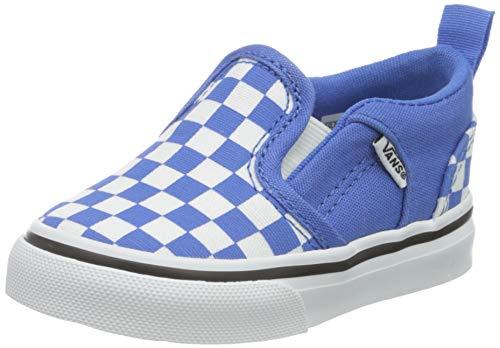 Vans Asher V-Velcro, Sneaker Bambini, Checkerboard Nebulas Blue/White, 26.5 EU