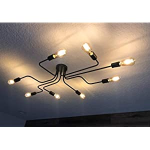 LynPon Industrial Ceiling Light Fixture Black Lighting Fixtures Metal Semi Flush Mount Light Farmhouse Chandelier Ceiling Lamp with 8 Lights for Dining Room Kitchen Living Room