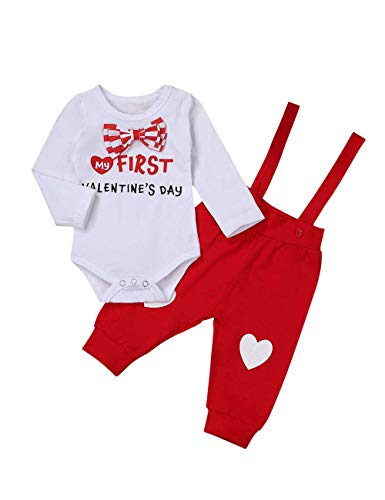 My First Valentine's Day Newborn Baby Boys Outfits Bowtie Romper with Suspender Pants Gentleman Outfits Sets White