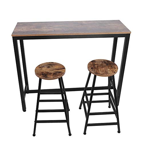 Ejoyous 3-Piece Bar Table Set, Industrial Style Counter Height Pub Table Kit Wooden Kitchen Dining Table with 2 Bar Stools for Breakfast Nook, Living Room, Dining Room, Small Place, Retro Brown