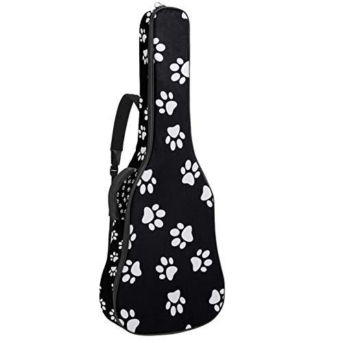 Bennigiry Bolsa de guitarra con estampado de huellas de perr