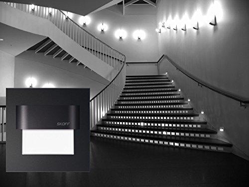 TANGO SKOFF Lot de 8 lampes LED pour escalier avec transformateur 8 x lampes et 2 x transformateur Aluminium brossé Noir 10 V 0,8 W IP20 A+