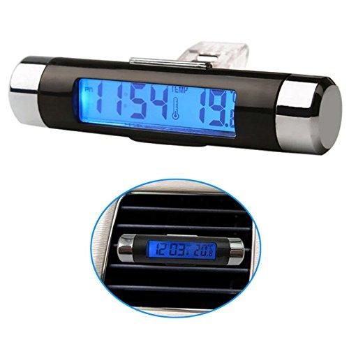 Q65 2in1 Digital Auto Uhr Temperatur Thermometer LCD Display Klimaanlage Lüftung, Offensichtliche Digitale Temperatur/Uhr Anzeige mit Blauer Hintergrundbeleuchtung im Auto