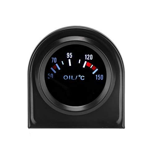 KIMISS Medidor de temperatura del aceite del coche, 2 pulgadas 52 mm 12V DC Luz LED Indicador de temperatura del aceite del coche Indicador de temperatura 50-150 ℃