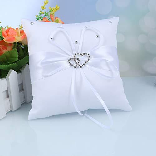 PIXNOR - Delicado cojín de raso con diamantes de imitación para llevar los anillos de boda