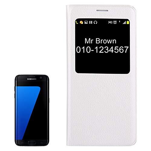JIANGHONGYAN para Samsung Galaxy S7 Edge / G935 Litchi Textura Horizontal Flip Funda de Cuero con identificador de Pantalla de Llamada (Color : Blanco)