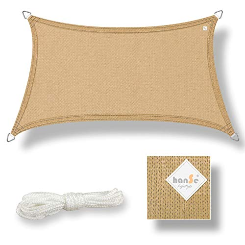 hanSe® Marken Sonnensegel Sonnenschutz Wetterschutz Wetterbeständig HDPE Gewebe UV-Schutz Trapez 3/4 x 2m Sand