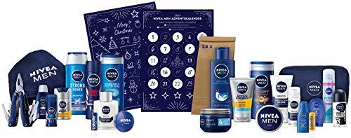 NIVEA MEN Adventskalender 2020 für 24 einzigartige Verwöhnmomente, Weihnachtskalender mit ausgewählten Pflegeprodukten & Accessoires, Pflegeset für die Adventszeit