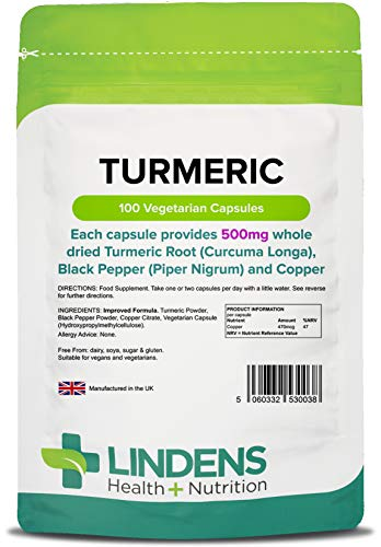 Lindens Turmeric 500mg with Black Pepper and Copper - 100 Pack - Natural Source of Curcumin and Popular Food Supplement in Easy to Swallow & Digest Capsule - UK Manufacturer, Letterbox Friendly