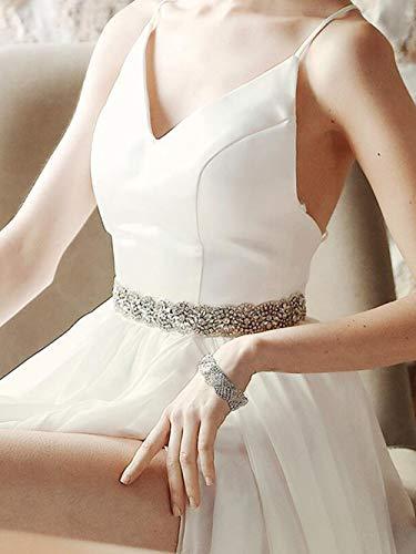 Simsly Bride De Mariage Cristal Ceinture En Argent Strass Ceintures De Mariée Perle Ceinture De Mariage Pour Femmes Et Filles (Ruban rose clair)