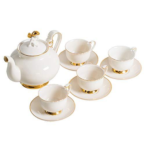 wuchenmin Juegos de té de Porcelana, Tetera, Tazas de té, platillos, Tapa de decoración de ángel, Borde Dorado, Estilo Europeo, clásico, Exquisito, café, cumpleaños, Boda, Juego de 9.