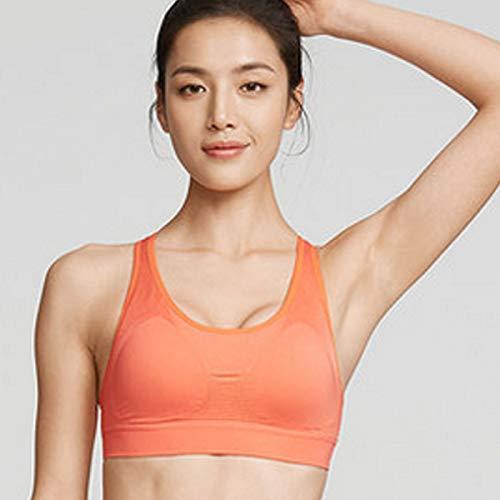FOGUO Sujetadores para Dormir para Mujer, Sujetador Deportivo elástico sin Costuras, cómodo, inalámbrico, Sujetadores de Yoga, con Almohadillas extraíbles,Orange-Small