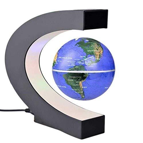 MSQL C-Form Magnetschwebebahn Weltkarte Globus, Zum Unterrichten Demo Home Office Schreibtisch Dekoration, 4 Zoll Englisch,Blue
