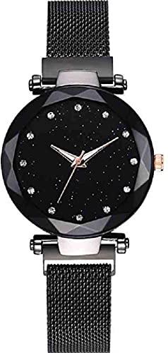 JZDH Mano Reloj Reloj de Pulsera Starry Sky Watch Womens Luxury Magical Banda Ajustable de Acero Inoxidable Wristwatch Relojes Masculinos Relojes Decorativos Casuales (Color : Negro)