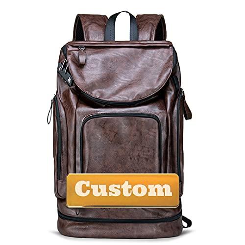 Nombre Personalizado Mujeres Casual Mochila Ligera Mini para Hombre de Cuero (Color : Brown, Size : One Size)